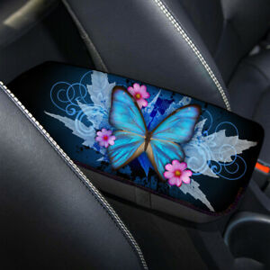 Blue Butterfly Design Car Center Console Armrest Covers Soft Pad for Women Girls