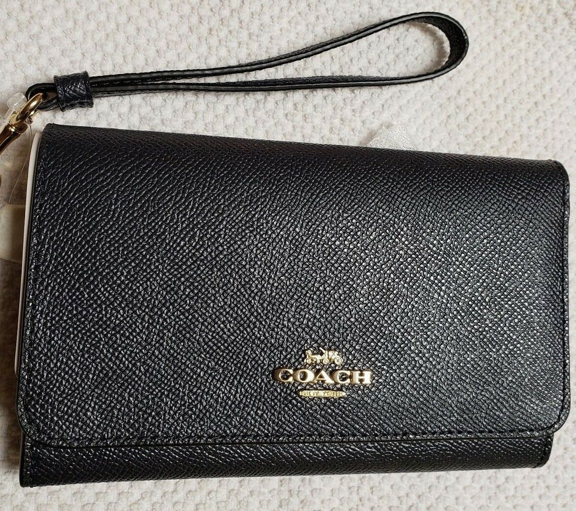 Coach Flap Phone Wallet F30205 Midnight Blue with Wrist Strap New with Tags NWT