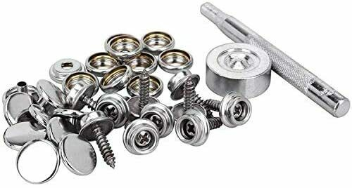 Stainless Steel Canvas Boat Cover Snap Press Stud Button Fastener Kit with Tools