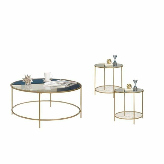 3 Piece Coffee Table Set With Coffee Table And Set Of 2 End Tables In Gold