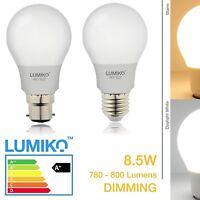 LED LIGHT GLS Dimmable BULB 1/2/4 PACK 8.5w = 100w B22 BC E27 ES  WhiteWarm 8.5