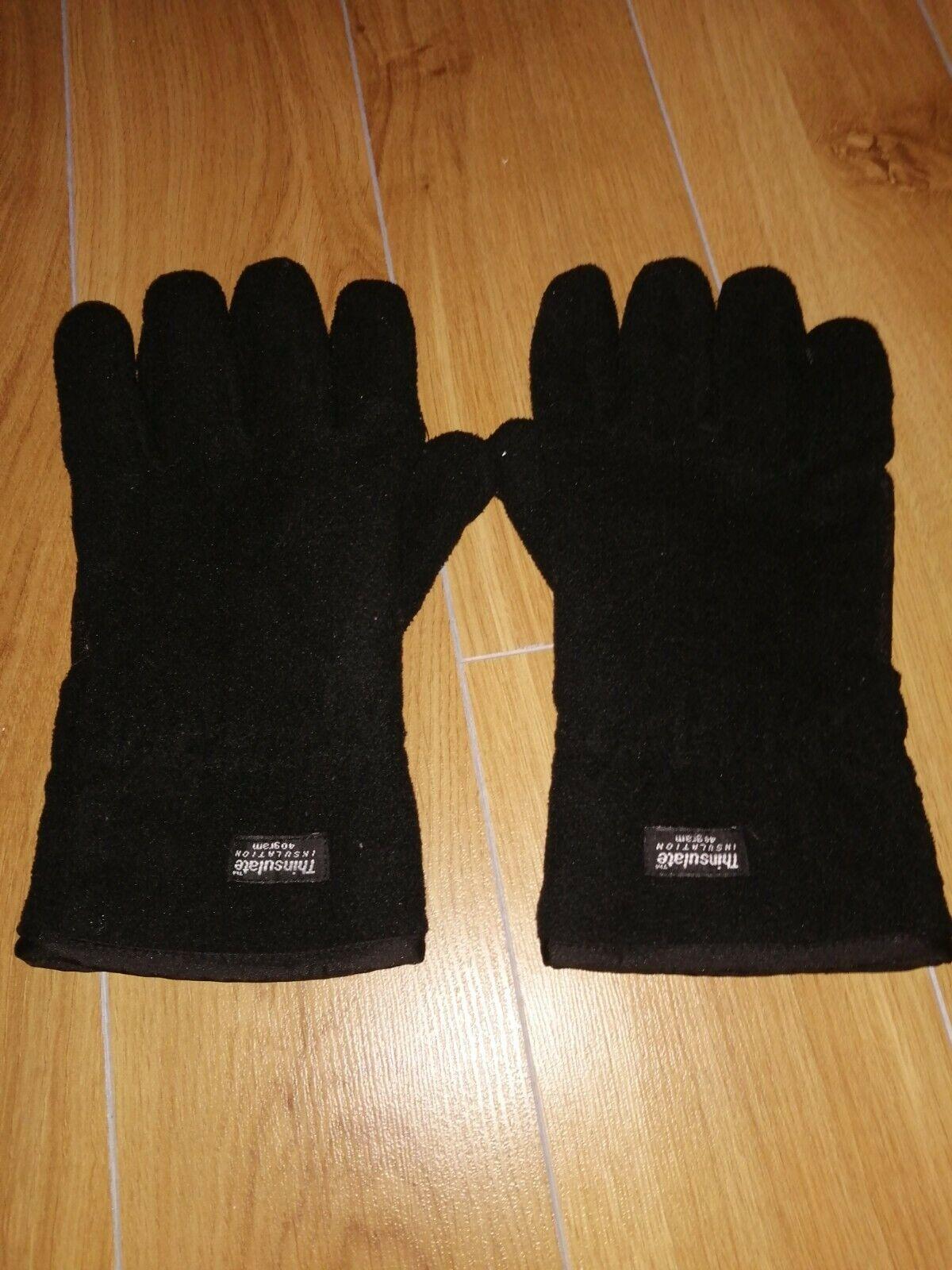 Men's Black Thinsulate Gloves, Size L/XL