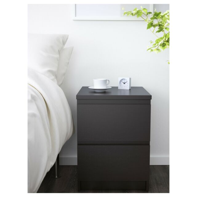 quality design 1f654 05cb8 Ikea Malm Chest with 2 drawers Nightstand - Brown/Black