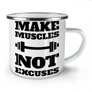 Make Tough Muscles NEW Enamel Tea Mug 10 oz   Wellcoda