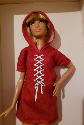TALL FASHIONISTA RED HOODED JERSEY dress for Barbie doll