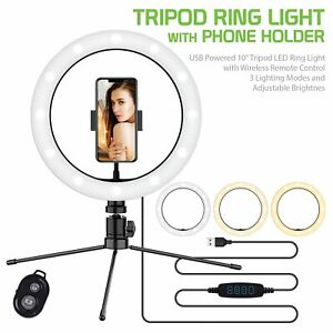 USB Tripod LED Ring Light Cell Phone Holder Stand Live Stream/ Makeup Video.