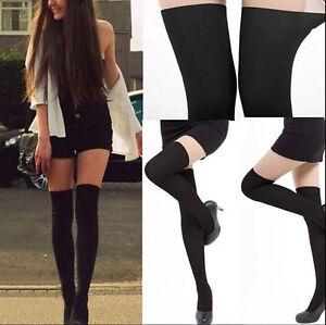 Womens-Black-Tinted-Sheer-False-High-Stockings-Pantyhose-Tights-EB