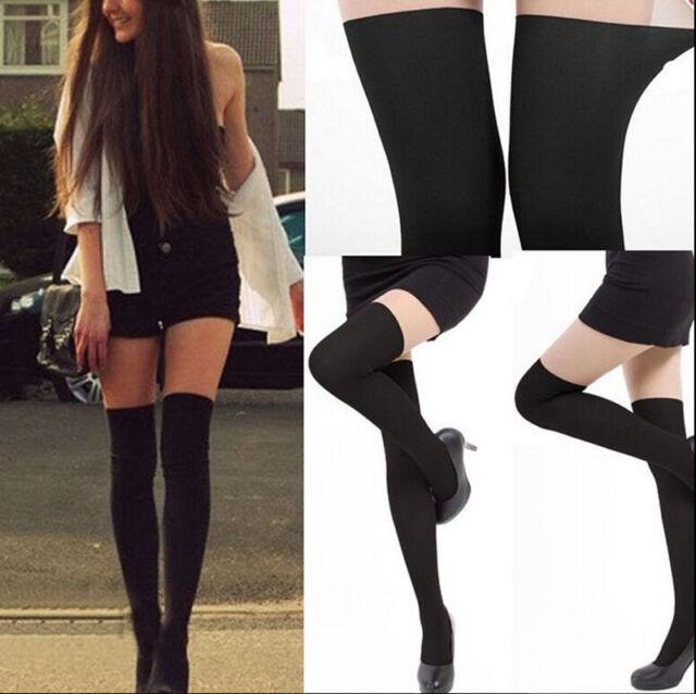 Womens Black Tinted Sheer False High Stockings Pantyhose Tights EB