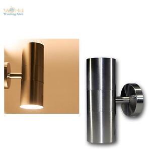 LED-Wandleuchte-Edelstahl-2-flammig-warmweiss-Aussenleuchte-Aussenwandleuchte-Lampe