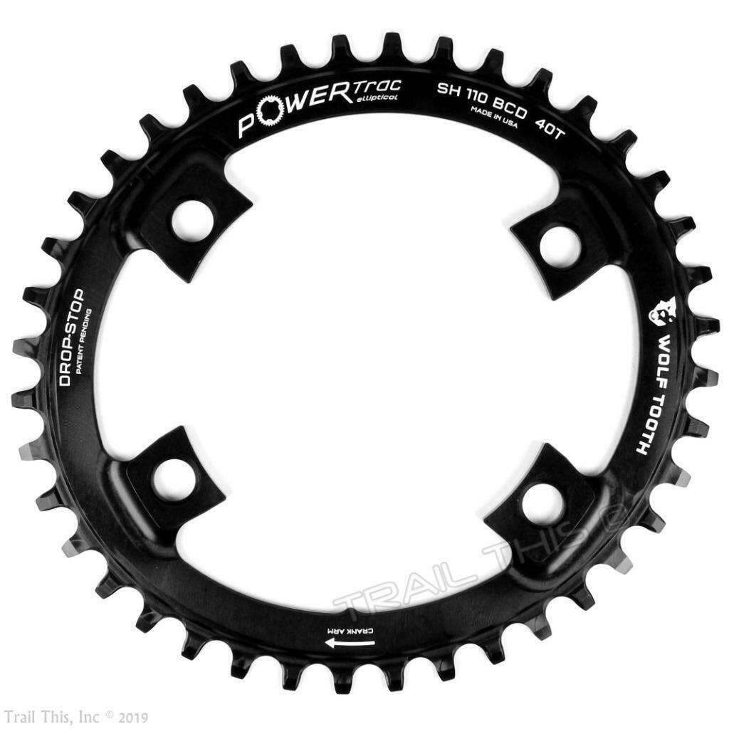 Wolf Tooth 40T 110 BCD Drop-Stop Elliptical Asymmetric Chainring for Shimano