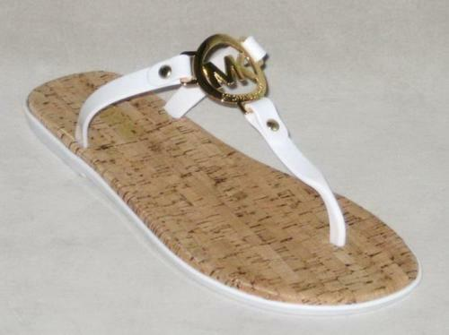 5340dec97320 Michael Kors Flip-flops Thongs White gold Womens Sz 6 9 1 8 Inches Heel to  Toe for sale online