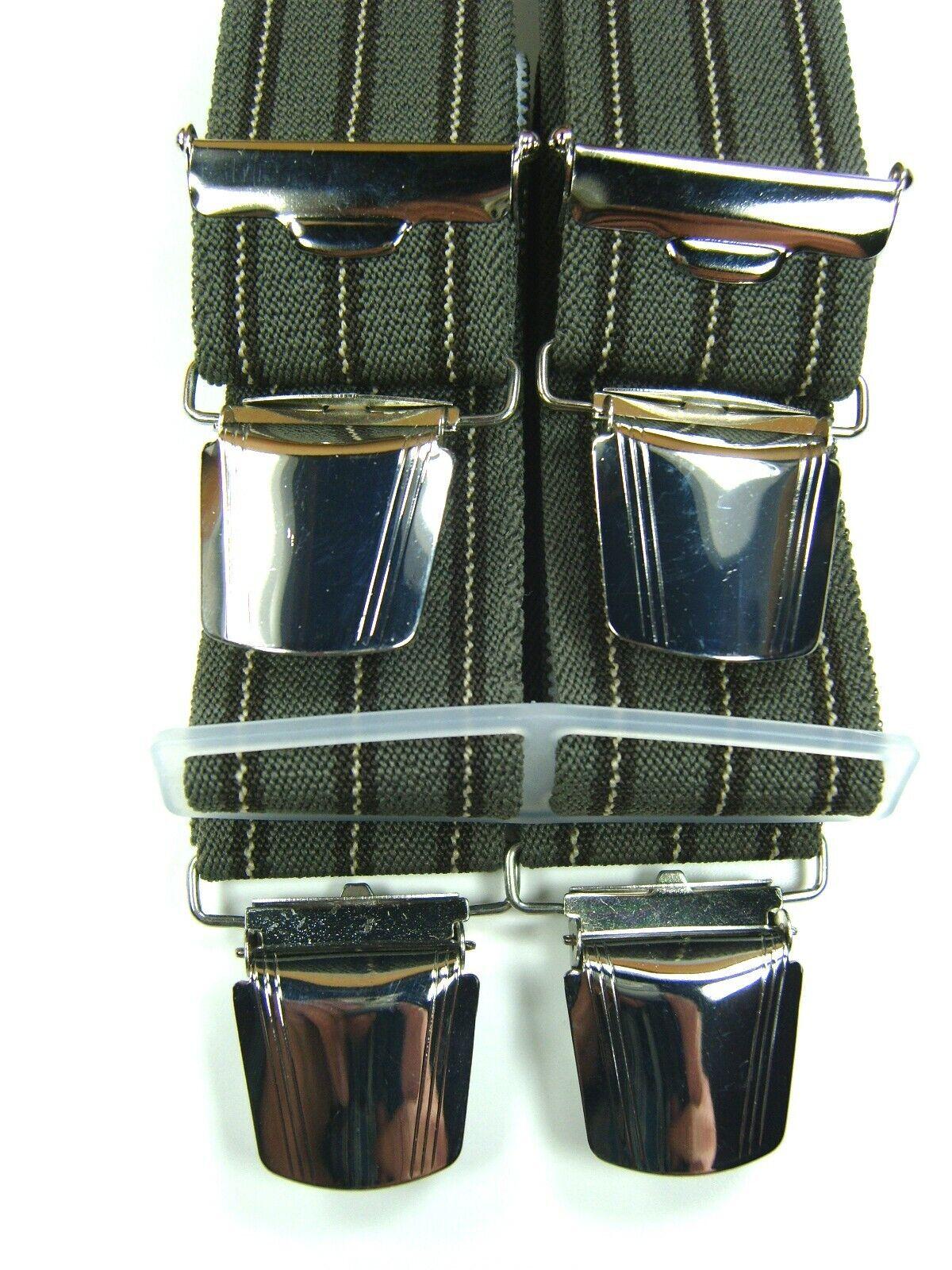 robuste grau-braune Hosenträger mit extra starken Klips,35 mm breit,120 cm lang