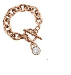 Image Is Loading Michael Kors Rose Gold Tone Chain Link Bracelet