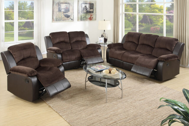 3 Pcs Family Motion Sofa Set Chocolate Padded Suede Living Room Furniture  Fabric
