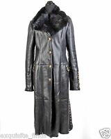 Versace Versus Black Shearling Fur Leather Coat 46 - 10
