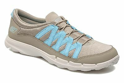 New! Women's Skechers On The Go- Gosleek Bungee Slip-On Shoes natural/blue C2