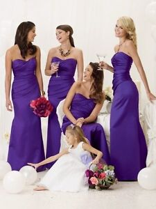 Image Is Loading Cadbury Purple Satin Evening Wedding Bridesmaid Dress Sz