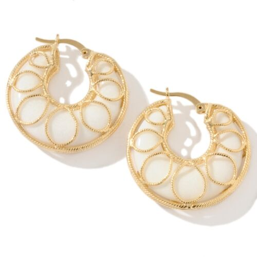 Technibond White Agate Caged Hoop Earrings 14K Yellow Gold Clad Silver 925 Gem