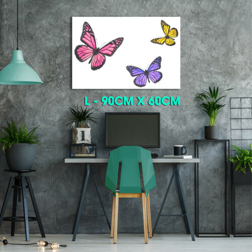 A341 Pink Purple Butterfly Red Funky Animal Canvas Wall Art Large Picture Prints