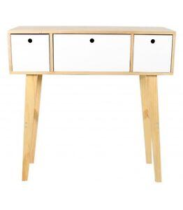 Mesa-consola-Keiko-de-3-cajones-en-blanco-y-haya-elaboracion-en-madera-80x80
