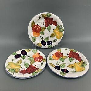 Oneida-Vintage-Fruit-Dinner-Plates-Hand-Painted-Pear-Apple-Plum-10-1-2-Lot-of-3