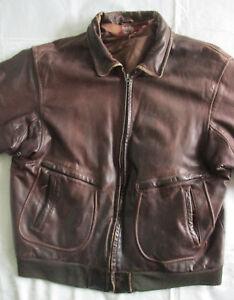 Vintage-Distressed-Brown-Leather-Jacket-Size-L-Large-DAMAGED-INNER-LINING