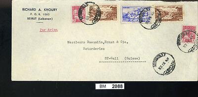 Bm2088, Libanon, 1949, Beyrouth - St. Gallen, Rückseitige Zwangszuschlag ZuverläSsige Leistung