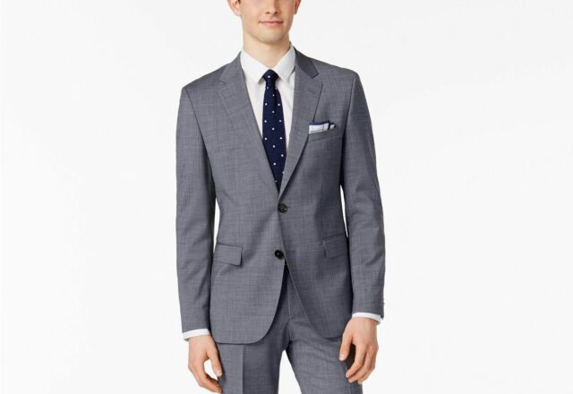 78aada18 $1145 HUGO BOSS Men's SLIM Fit Wool Sport Coat GRAY SOLID SUIT JACKET  BLAZER 40R