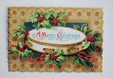 *PUNCH STUDIO Set of 4 Die Cut Blank Christmas Note Cards ~ Christmas Tambourine