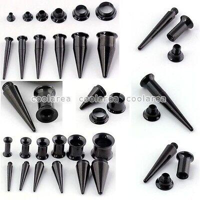 1pc Pick Gauge ´2 in 1´ Black Surgical Steel Taper Ear Flesh Tunnels Plugs Kit