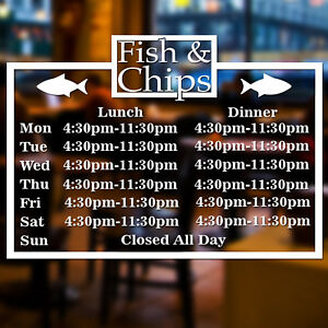 Fish-amp-Chip-Shop-Personalised-Custom-Times-Wall-Window-Sign-Vinyl-Decal-Sticker