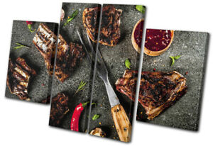 Meat-BBQ-Beef-Bone-Butcher-Food-Kitchen-MULTI-CANVAS-WALL-ART-Picture-Print