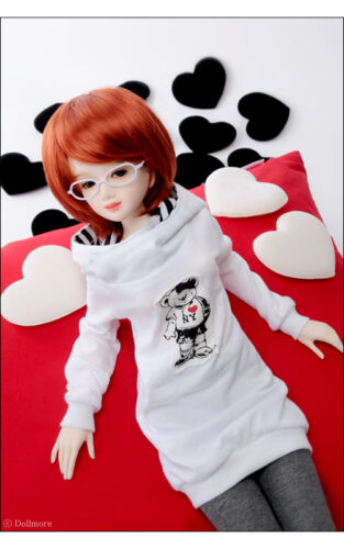 "Dollmore  1//3 BJD 22/"" doll clothes  SD size Teddy Hood T White"