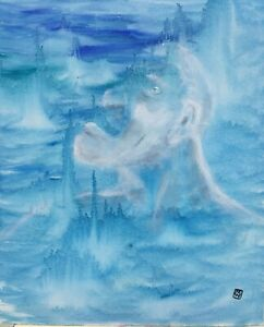 Blue-Abstract-Surrealism-Painting-Art-Man-in-the-Moon-Sky-Mythological-Portrait