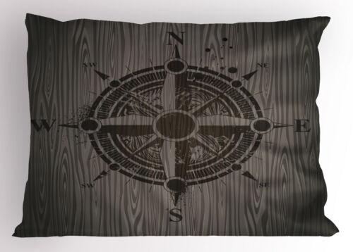 Nautical Compass Pillow Sham Decorative Pillowcase 3 Sizes for Bedroom Decor