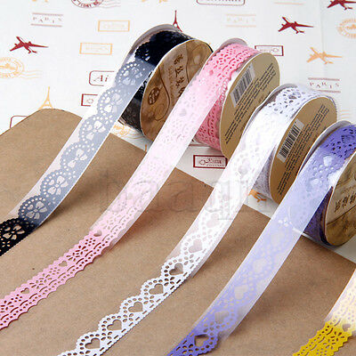 5pc Washi Paper Lace Roll DIY Decorative Sticky Paper Masking Tape Adhesive MA