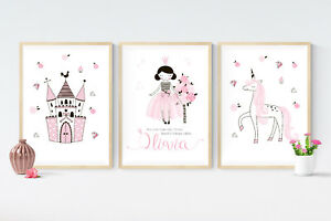 Image Is Loading 3 Fairy Tale Princess Unicorn Prints Personalised Pictures