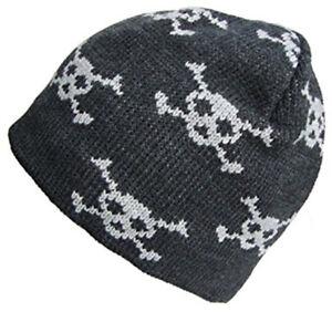 Mens Ladies Grey Skull   Crossbones Beanie Hat Adult Pirate Biker ... 26d198d669c