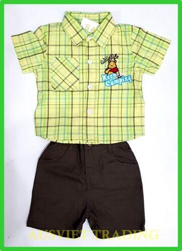BNWT Winnie Pooh Bear top shirt boys kids toddlers shorts 3//4 pants outfit Set