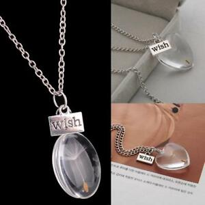 Wunsch-Glas-Oval-Herz-Form-Loewenzahn-Samen-Anhaenger-Halskette-Schmuck-Kette-V1R0
