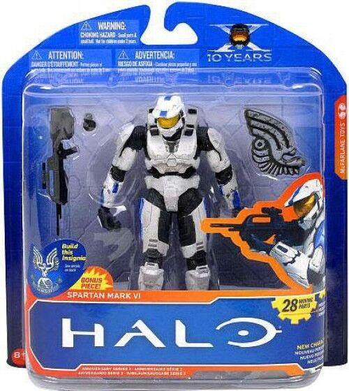 Halo 10th Anniversary Series 2 Spartan Mark VI Action Figure [White & bluee]