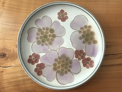 "Four (4) SALAD Plates 8"" Denby Stoneware GYPSY Pattern Lavender + Pink Floral"