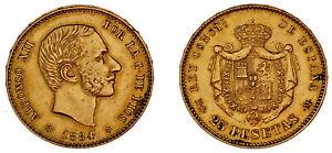 25-GOLD-PESETAS-25-PESETAS-ORO-ALFONSO-XII-MADRID-1884-XF-EBC