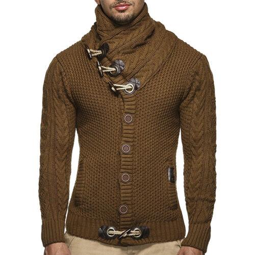 Herren Trachten Strickjacke Rollkragen Fleecejacke Cardigan Sweatjacke Pullover