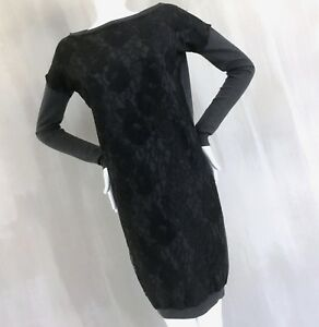 LANVIN-Ladies-Grey-Wool-Knitted-Black-Lace-Long-Sweater-Jumper-Day-Dress-Size-M