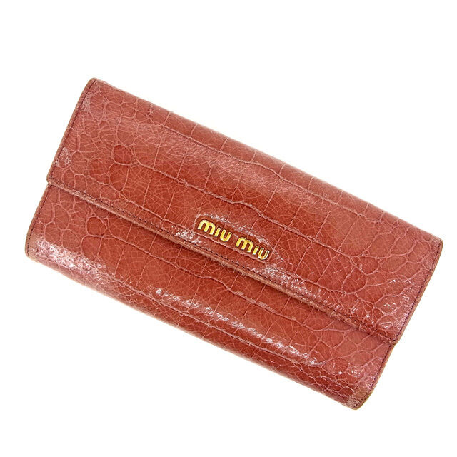 miumiu Wallet Purse Trifold Pink Woman Authentic Used Y560