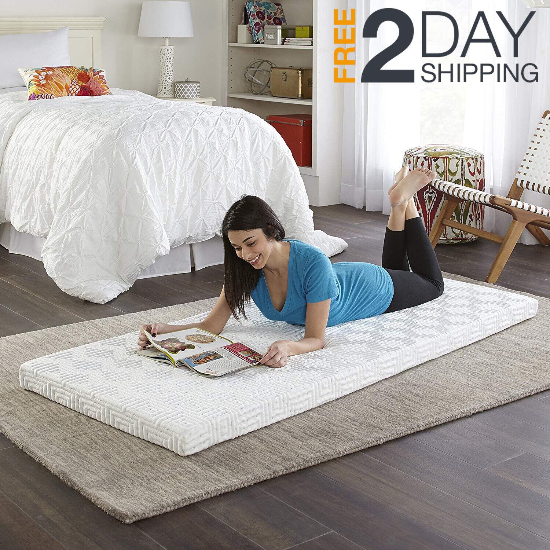 Memory Foam Camping Mattress Topper Twin Size Camping Guest Bed Rv Camper Roll Ebay