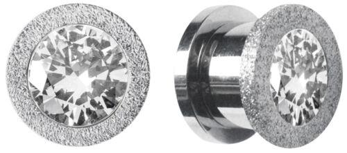 Ohr Piercing Schmuck Flesh Tunnel Plug und Schlagring mit vier Steinen aus Stahl