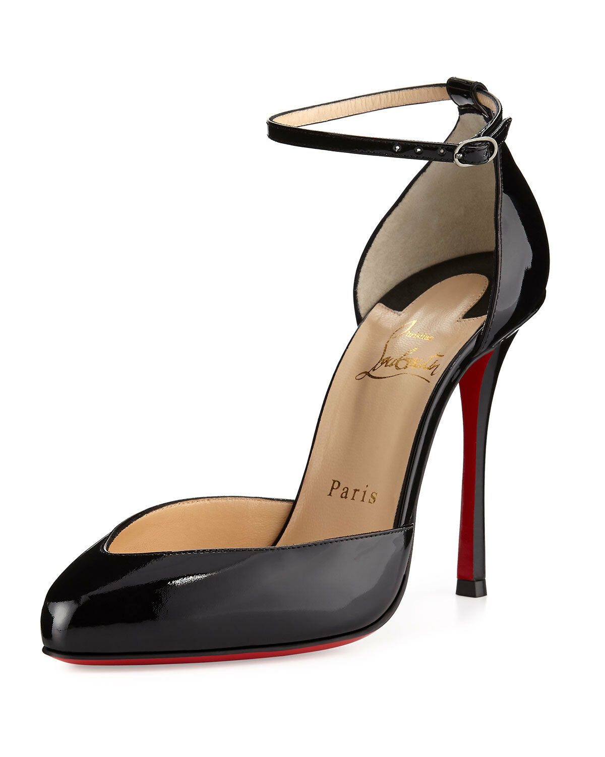 Christian Louboutin Dollyla Patent 100mm Red Sole Pump, Black 38