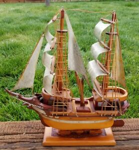 Antique Model Ship Sail Boat Maritime